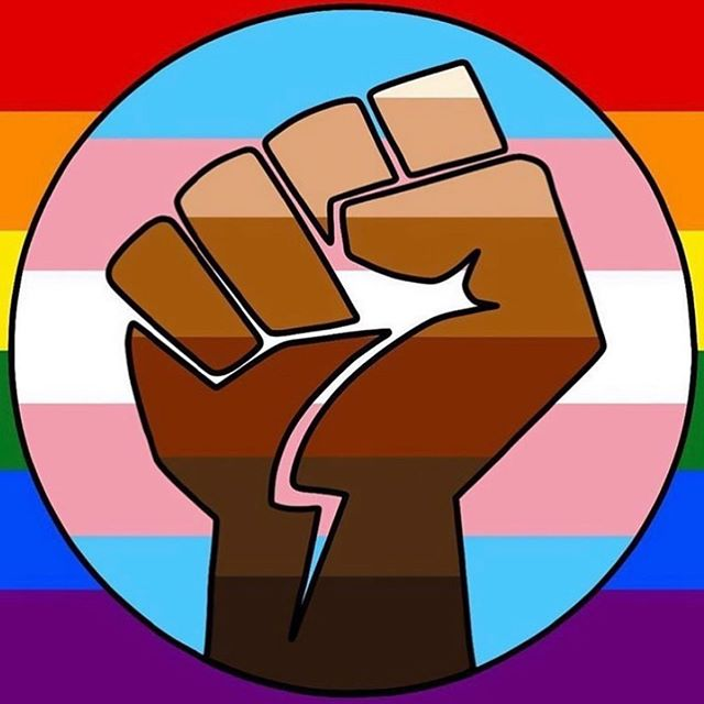 A square graphic with a rainbow background, a circle filled with the colors of the transgender flag, and a raised fist with varying shades of brown similar to skin tones.